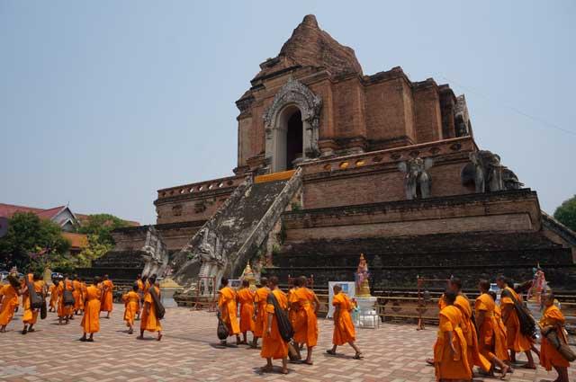 Monks outside Wat Chedi Luang, Chiang Main, Thailand