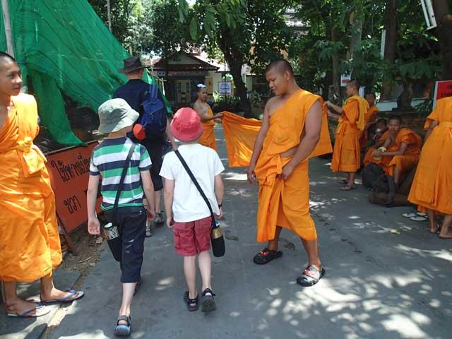 Monks outside a Thai temple