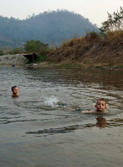 Swimming in a Thai river