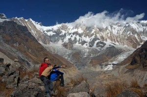 Annapurna Base Camp clouds over mountains Nepal