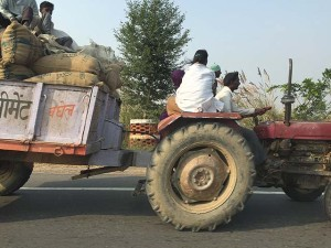A tractor on the roads in India