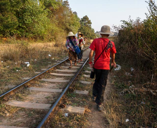 Walking along the train track to Inle Lake