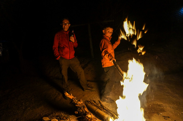 Camp fire on Inle Lake trek