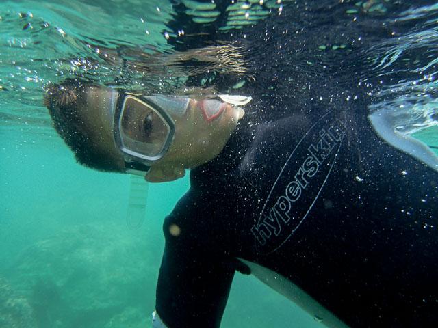 Evan snorkelling
