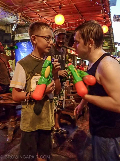 Songkran with kids means water pistol battles