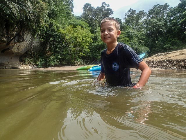 Swimming in the river in Borneo
