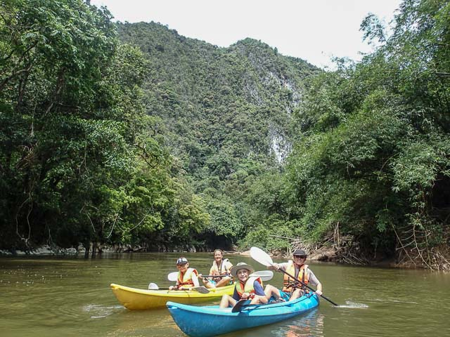 Family kayaking in Borneo
