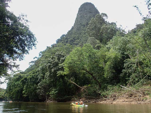 Amazing scenery on a kayaking paddle along the river in Borneo