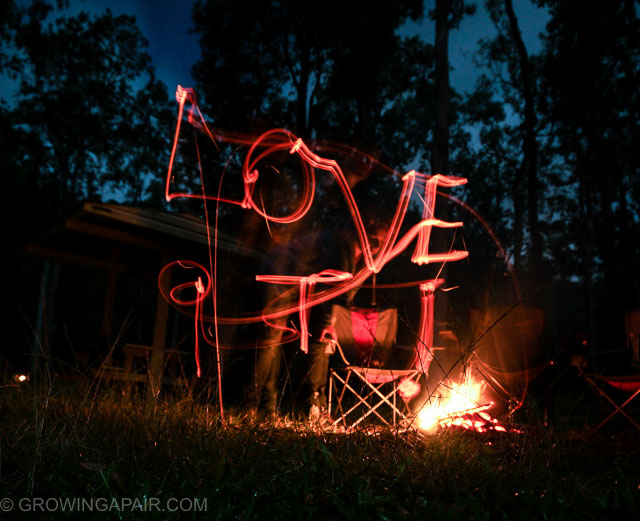 Fire writing at Murray Falls - road trip camping