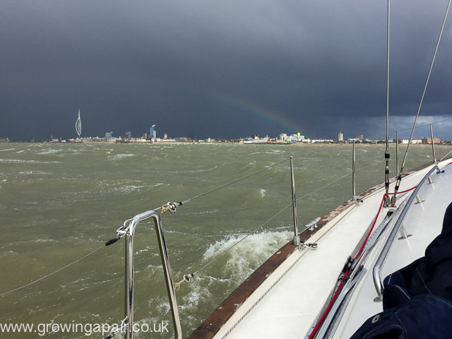 Sailing in Force 8 gales in the Solent and rainbow over Portsmouth