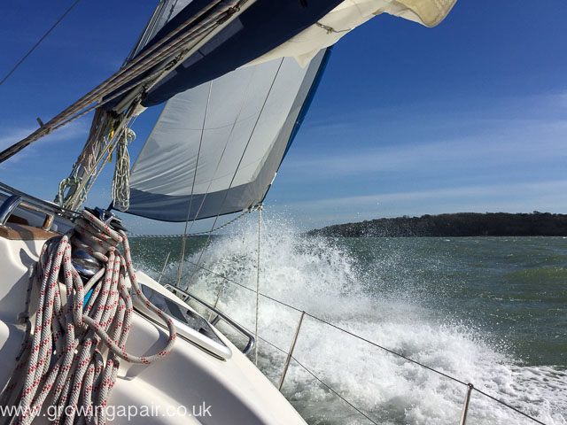 Sailing boat in gusty winds