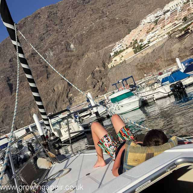 Relaxing on a yacht in Los Gigantes