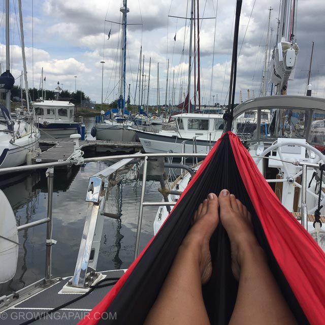 Relaxing in a hammock in a marina