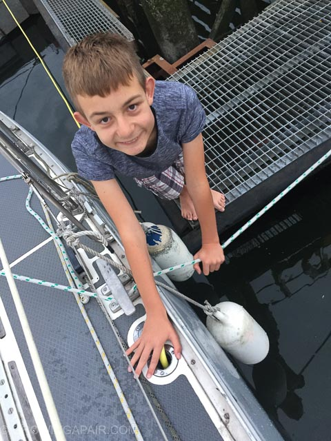 Filling the fresh water tank on the yacht