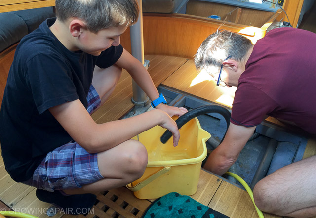Disinfecting the boat water tank