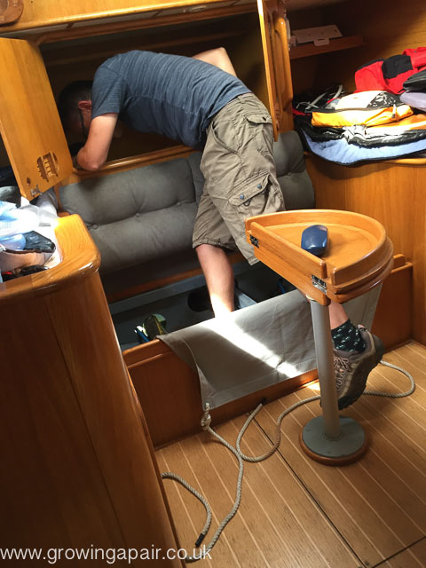 Looking for the leak on our Ipswich to Portsmouth sail