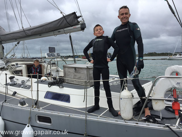 Snorkelling off sailboat in the UK