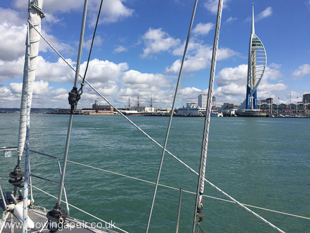 Sailing past the Spinnaker Tower