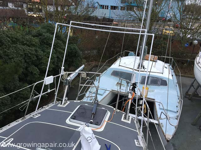 Mocking up a frame for solar panels on a boat