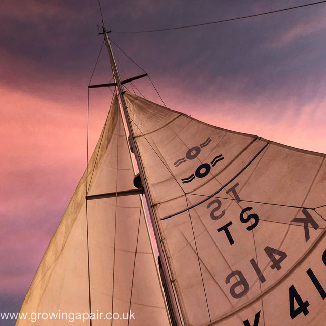 Downwind sails set for a night passage