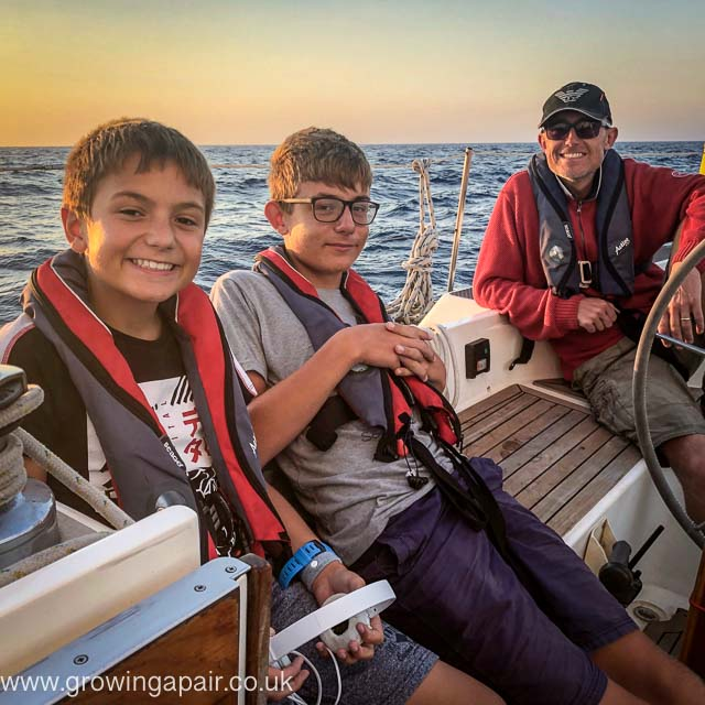 The boys at sunset off the coast of Portugal