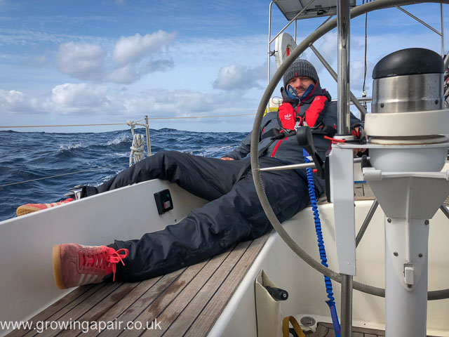 On the helm in the Bay on Biscay