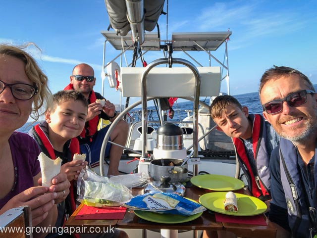 Dinner on a sailing boat