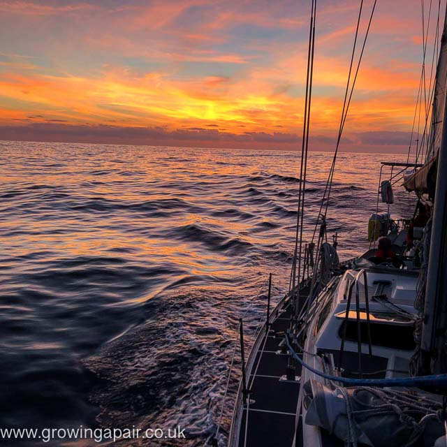 Sunset from a sailing boat