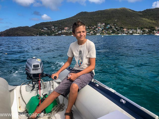 Driving the dinghy in the Caribbean