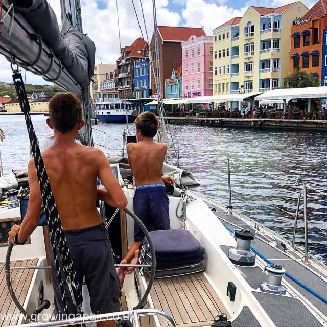 Sailing into Willemstad Curacao