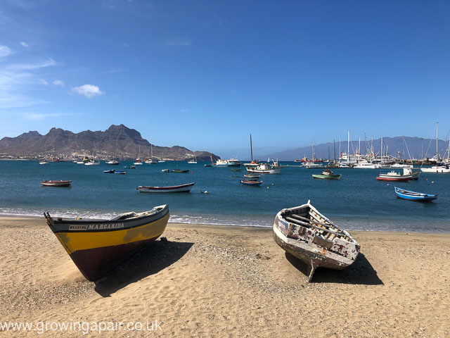 Boats on a Cape verde beach