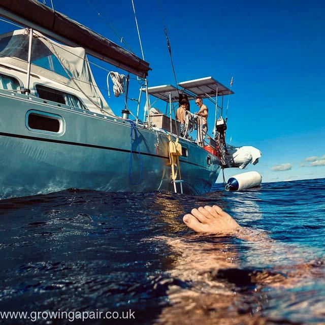 Atlantic sailing swimming. Swimming in the Atlantic Ocean