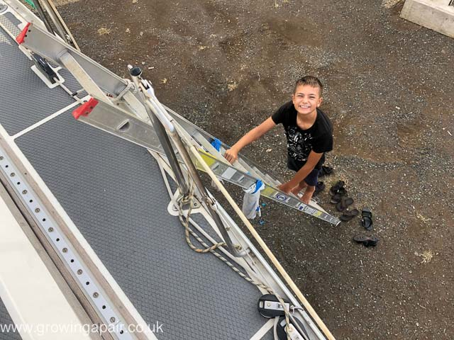 Evan on the ladders