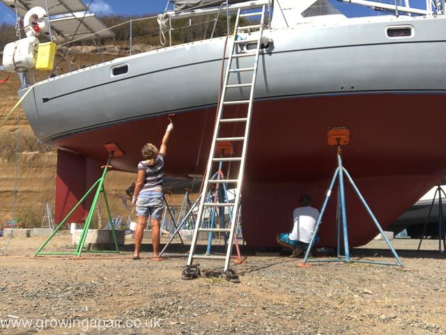 Antifouling the hull in Grenada