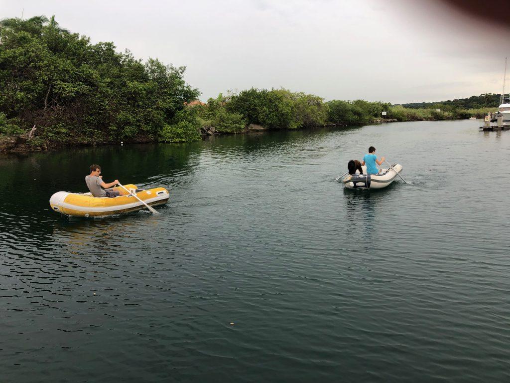 Dinghy race in Shelter Bay Marina