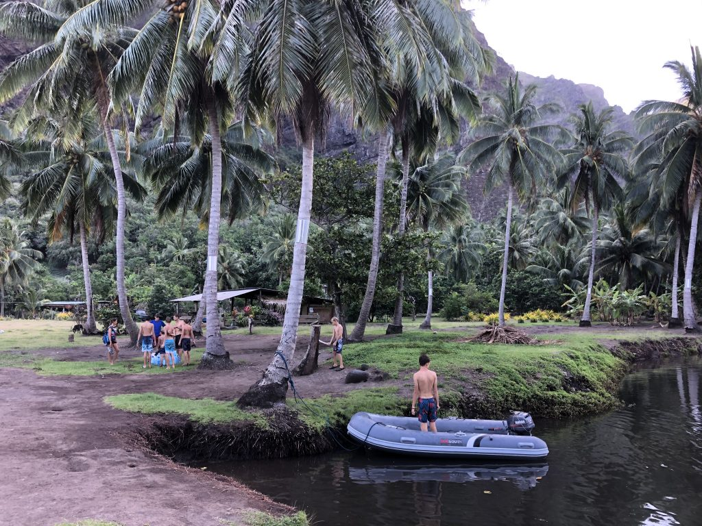 Collecting water in Nuku Hiva